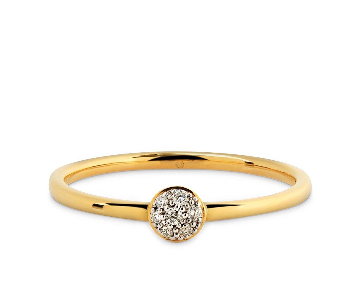 """Mars Anillo B 2  Producto <span style=""""font-weight: 400;"""">Banda de oro blanco o amarillo con círculo central cubierto con 4 diamantes corte brillante de 1 punto cada uno.</span>"""