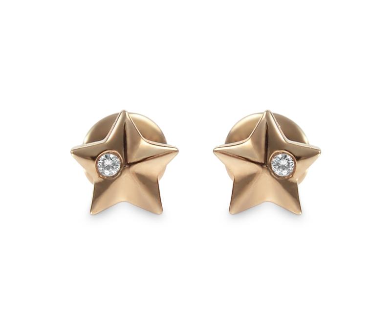Aros de bebé estrella Oro Rosado