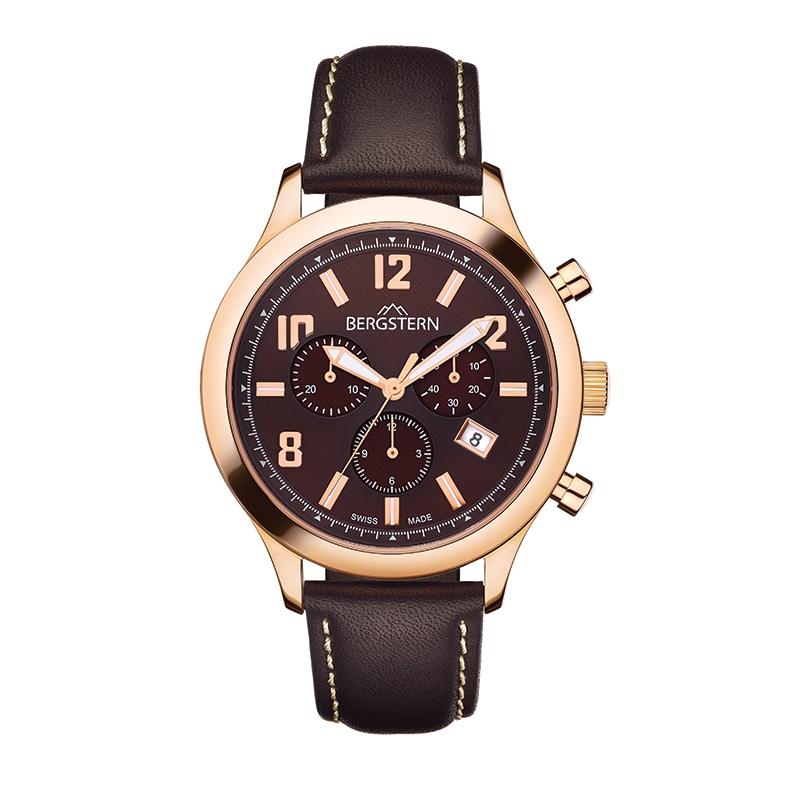 B028G144  Producto El reloj Active-G144 te deslumbrará con su elegante estilo. Es un modelo deportivo que puedes vestir en cualquier ocasión gracias a su elegante acabado en acero y cuero natural. Cuenta con cronómetro, fecha y segundero pequeño, que te permiten además de lucir increíblemente estiloso, contar con la más alta tecnología en relojes. Este reloj pertenece a la colección icónica de la marca Bergstern, característicos por ser masculinos, rebosantes de poder y carácter. Los parámetros técnicos que caracterizan a los relojes de Active son de igual nivel a la potente imagen de este reloj.