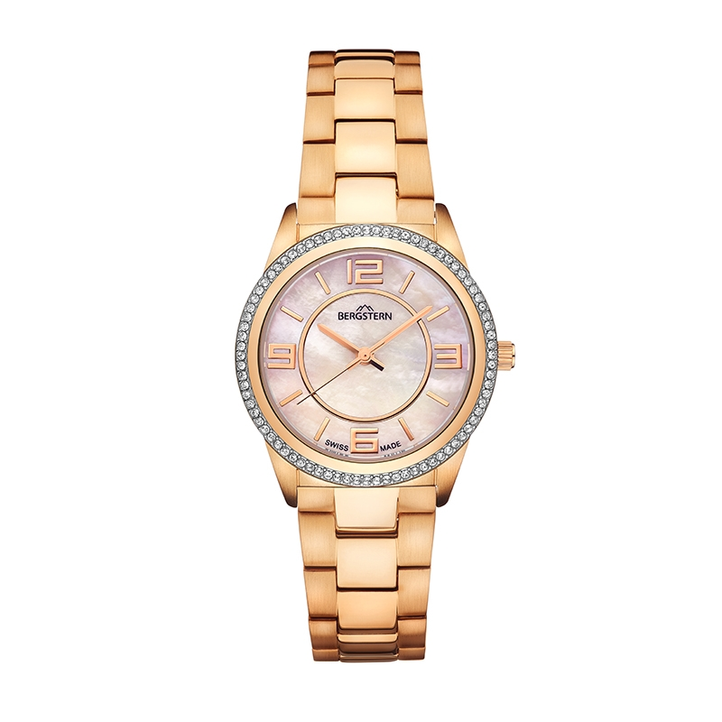 B034L172  Producto El reloj Brilliance-L172 integra a la perfección el brillo y una estructura sólida, dando una silueta femenina, audaz y fácil de llevar. Su hermoso acabado de brillos en la caja, junto a un diseño de números vistosos, hacen de este reloj un complemento ideal para quienes gustan de una pieza con personalidad. La colección Brilliance de Bergstern está dedicada a la mujer inteligente, que sabe lo que quiere, con personalidad y carácter. El diseño de un reloj Brilliance, discretamente adornado, se fusiona perfectamente con la pulsera. Los modelos seleccionados cuentan con el hermoso brillo del nácar.