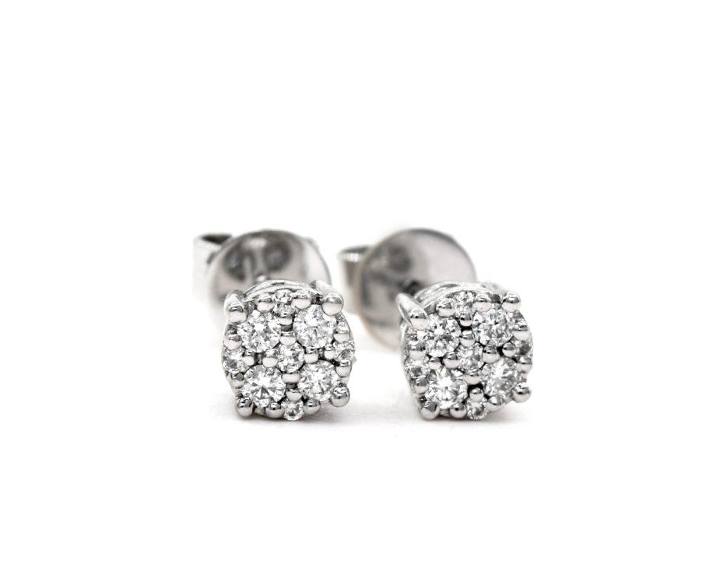 Aros Cluster oro blanco con diamantes