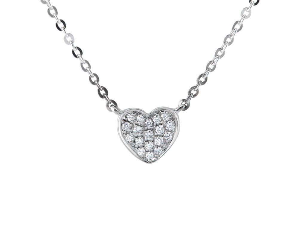 Colgante Corazón Mini diamantes con oro blanco y oro amarillo