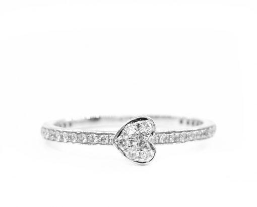 Anillo Corazon oro Blanco con diamantes