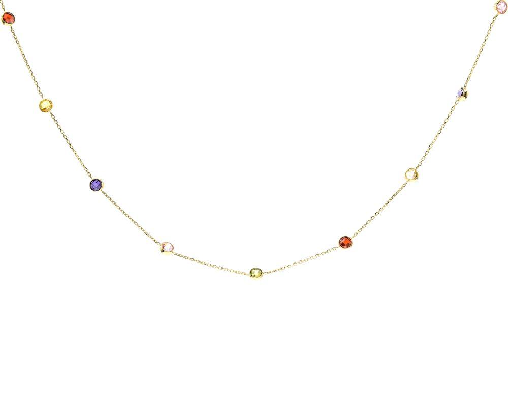 Oro Amarillo 18k y 4 Amatistas, 2 Aguamarinas, 2 Granates y 3 Peridotos