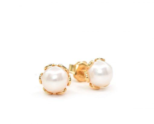 Aros Lily oro amarillo con perlas