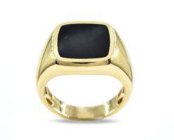 Anillo oro Amarillo piedra Onyx