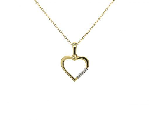 Colgante Corazón Oro Amarillo 18k y Circones
