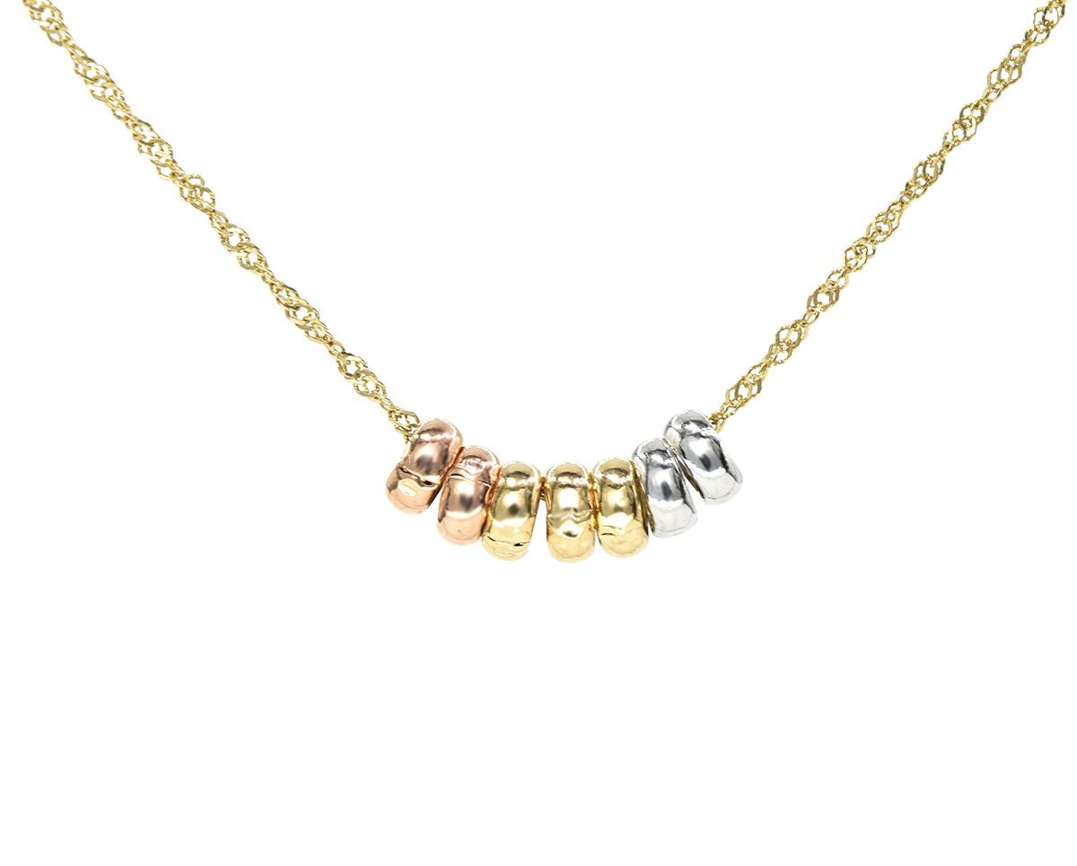 Colgante Oro Amarillo, Blanco y Rosa de 18k.