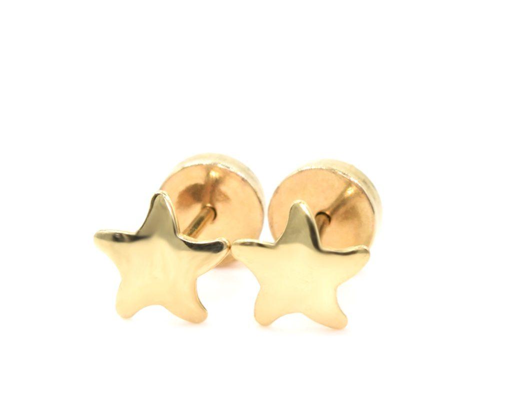 Aros Abridores bebe Estrella oro amarillo