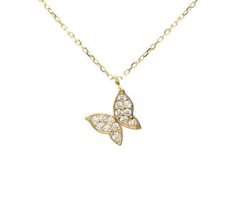 Colgante Mariposa oro amarillo con circones