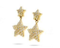 Oro Aros Estrellas Amarillo 18k y circones.