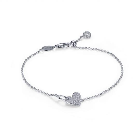 pulsera sparkle heart  Producto Plata 925 con acabado de platino y moissanitas.