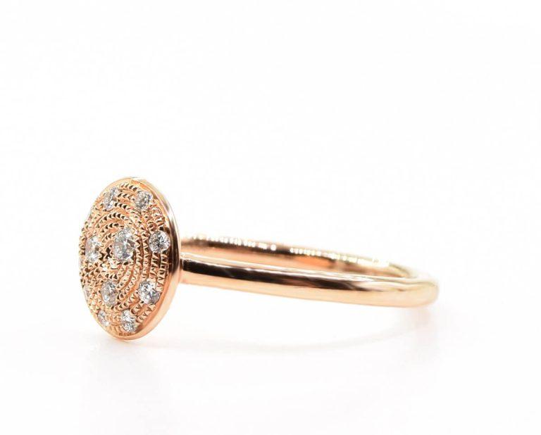 Anillo Oro Blanco o Rosa 18k y 18 Diamantes que suman 17 pt