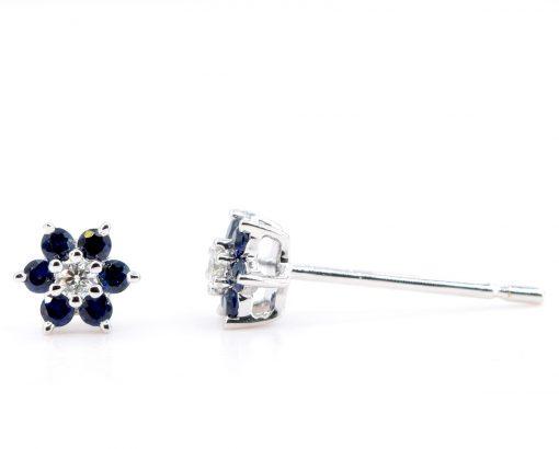 Aros de Oro Blanco 18k, con Diamante y Zafiro