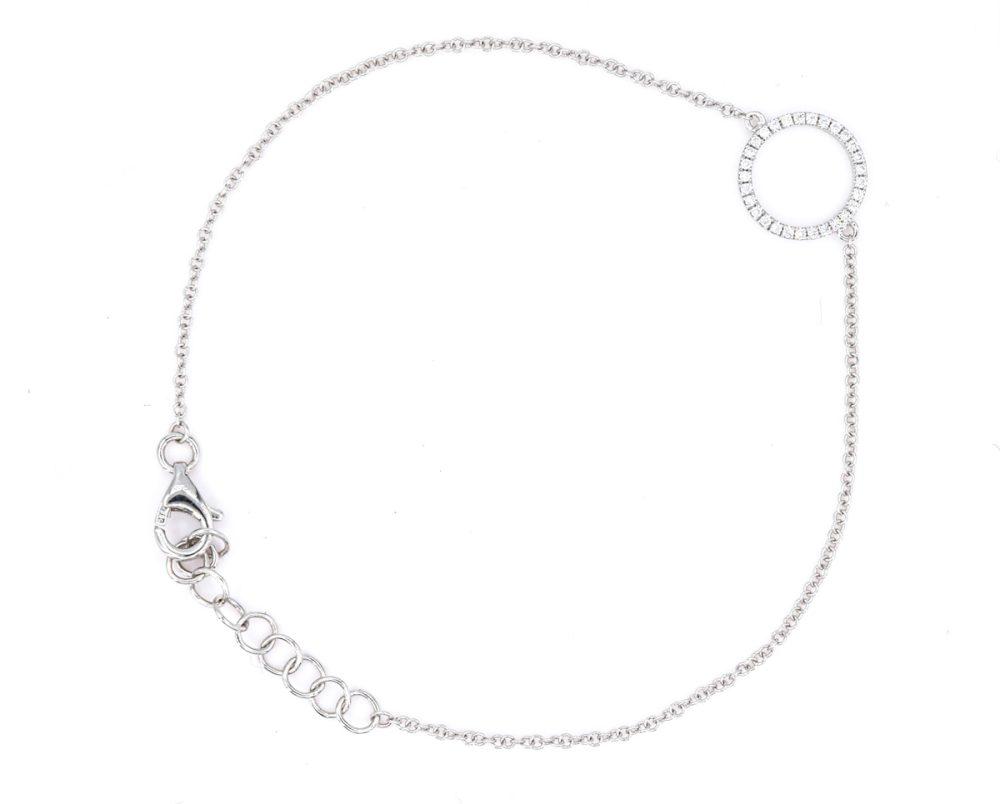 Pulsera Bright Circle Oro Blanco 18k y Diamantes.