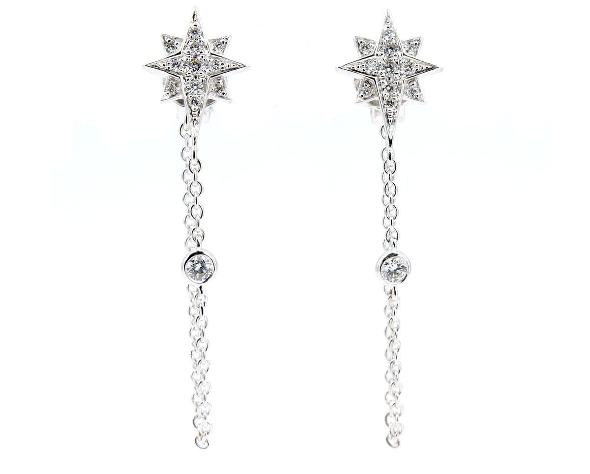 Aros Stella de Oro Blanco 18k, con Diamante