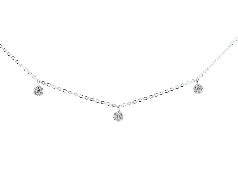 Oro Blanco 18k con 5 Diamante brillante que suman 16 pt, 1 Cadena 45cm
