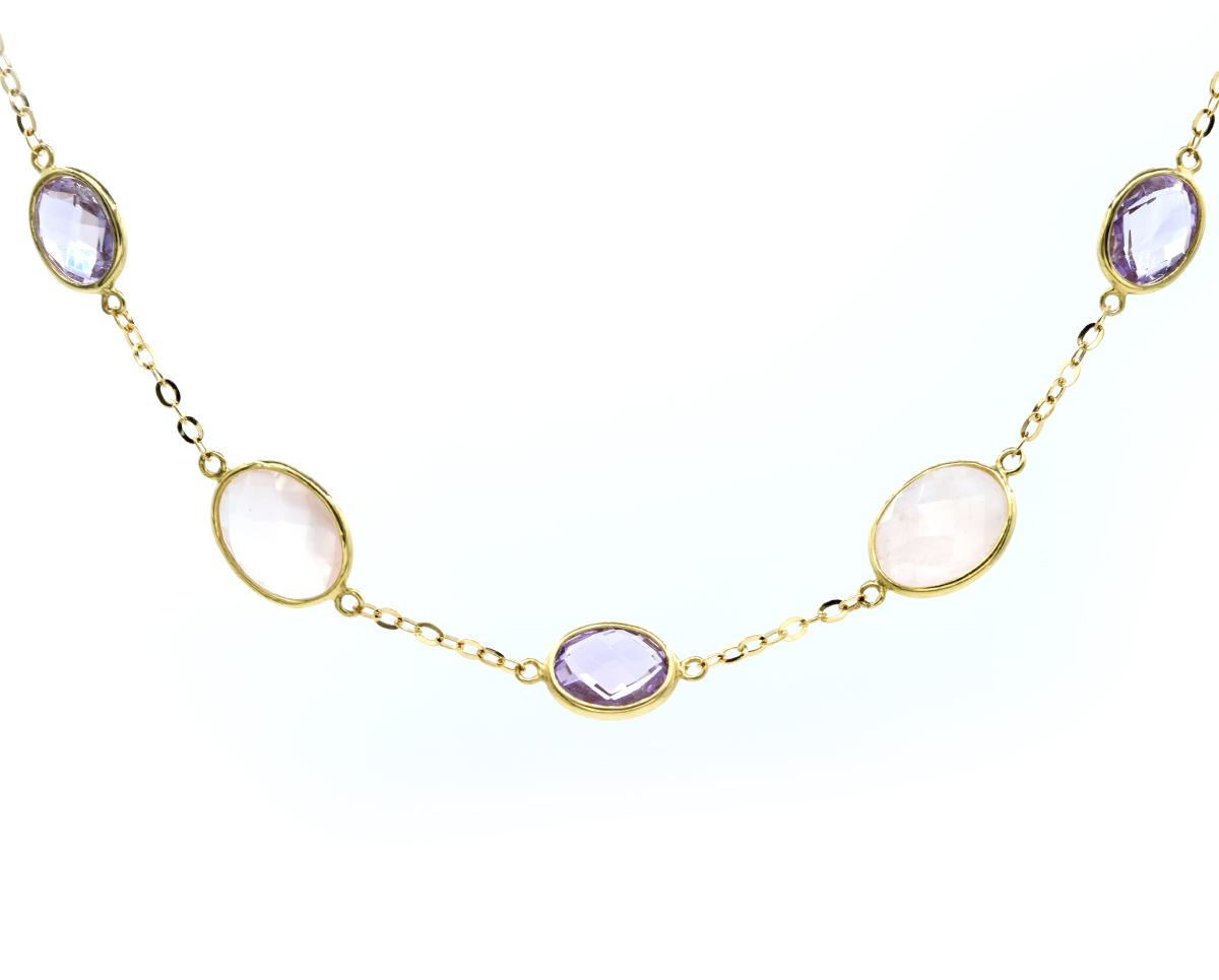 Venice Collar de Oro Amarillo 18k con Amatista, Cuarzo Rosa, 1 Cadena 40 cm
