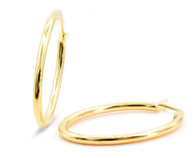 Aros Argolla Oval Oro Amarillo 18k, 30 x 20 mm; 1,5 g
