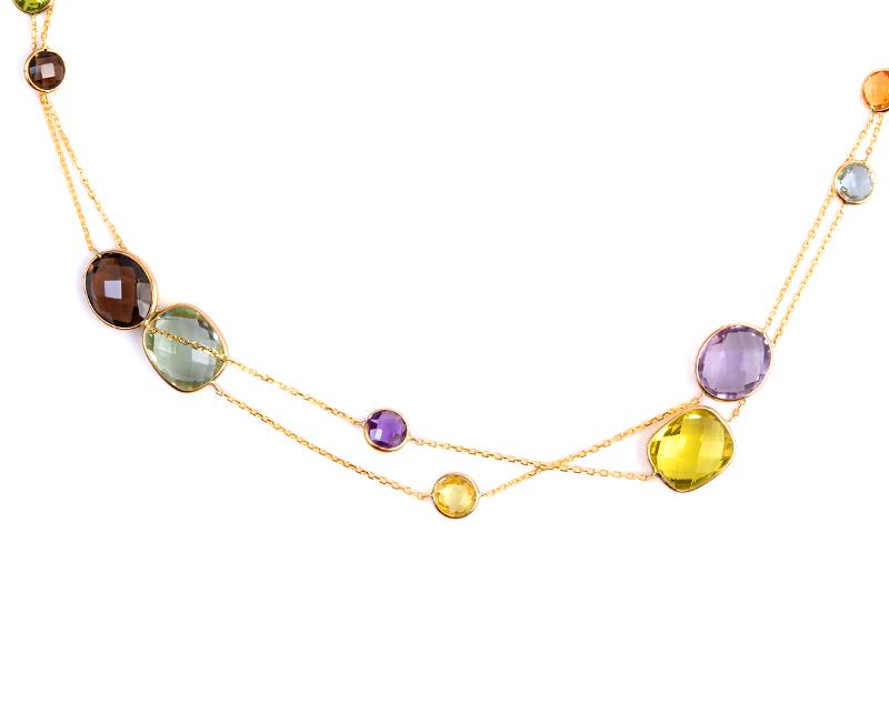 Oro Amarillo 14k, con Amatistas. Aguamarinas, Topacios, Cuarzos Rosa, Periodotos, Granates y Citrinos. Incluye cadena. Largo: 90 cm