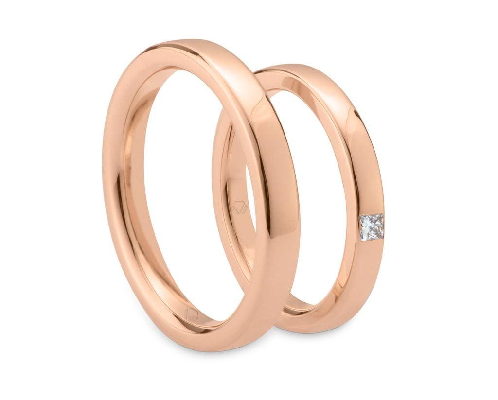 Argollas De Matrimonio Valencia WEB Valencia OR 2 Producto Oro Amarillo 18k, u Oro Blanco 18k, u Oro Rosa 18k, o Platino, con 1 Diamante princess 2X2