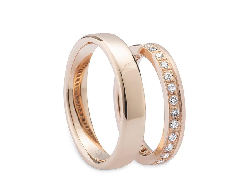 Argollas de Matrimonio Aviv 02 Producto Oro Amarillo 18k, u Oro Blanco 18k, u Oro Rosa 18k, o Platino, con 30 Diamante brillante 2 pt