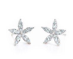 Aros Aviva Diamond Oro Blanco 18k, con 30 Diamante que suman 41 pt Largo: 10 mm