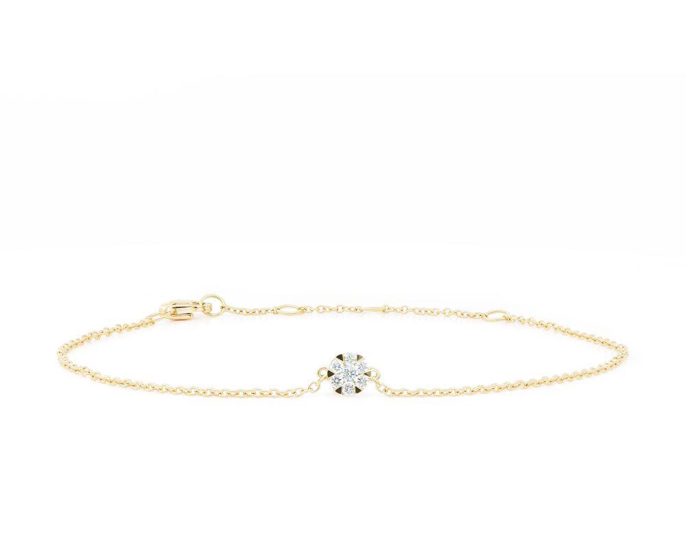 Pulsera Cluster Oro Blanco o Amarillo 18k, con 7 Diamante brillante que suman 9 pt Largo: 18 cm